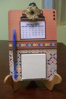 Altered clipboard by Caron Barnard (calendar and post it message center)
