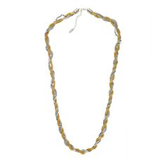 Iris - Necklace - Twisted multi-strands necklace with beads - Gold, silver and gun metal bead colour - Dimension: 82cm + 5cm extending chain $ 50