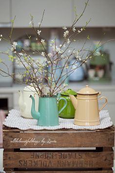 Old pots above kitchen cabinets.....