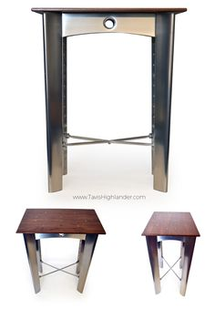 Aluminum sheet metal furniture, riveted, rivets, end table, aviation aerospace inspired, walnut top, industrial style furniture