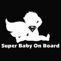 Sticker autocollant b/éb/é /à bord super b/éb/é /à bord style superman Noir