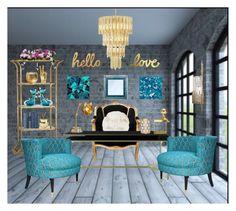 """Turquoise & Gold office"" by alexandra-juliana on Polyvore featuring interior, interiors, interior design, home, home decor, interior decorating, Bloomingville, Dana Gibson, Alfredo Barbini and Ghidini 1961"