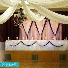 Royal Blue And White Wedding Decor At The Polish Canadian Club In London Ontario By Luxe Weddings Events