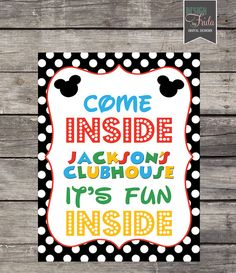 Personalized MICKEY MOUSE CLUBHOUSE or Minnie Welcome Door Yard Sign with… Mickey Mouse Clubhouse, Mickey Mouse Birthday, Mickey Printables, Welcome Door, Mickey Party, Kid Names, Party Time, Digital, Children