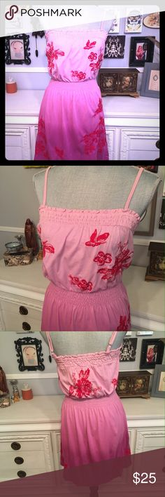 ✂️✂️ Clearance Pink ombré  dress with embroidery Fun summer dress or cover up from Johnny Was Los Angeles. Pink ombré with red floral and butterfly embroidery. Elastic waistband and adjustable straps. Please ask all questions before purchase. Item sold as is. Johnny Was Dresses Mini