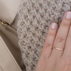 Dun goud V ring dunne V-vormige ring ring goud chevron