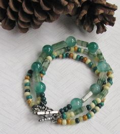 Green Agate Rounds Green and Neutral Glass by maggiestringsbeads, $15.00