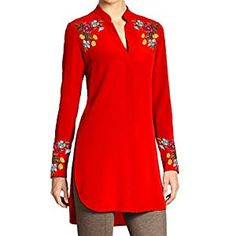 Ladies Tunic with Multicolor Floral Embroidery on Shoulders and Cuffs (Customizable) Jacket Dress, Shirt Dress, Silk Tunic, Mom Dress, Sister Shirts, Hippie Chic, Floral Embroidery, Dress Brands, Hijab Fashion