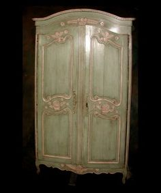 This Is Just Gorgeous. French 19th century Louis XV carved and painted two door armoire . Go French Antiques in New Orleans, Louisiana.