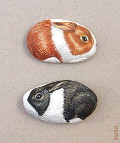 Hand painted rocks. 2 dutch bunnies by Alika-Rikki, via Flickr