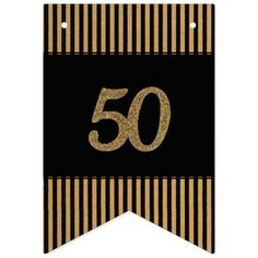 50th Gold - Black & Gold Stripes Bunting Flags
