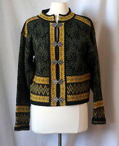 Christiania L Norway Sweater Cardigan Wool Pewter Green | eBay