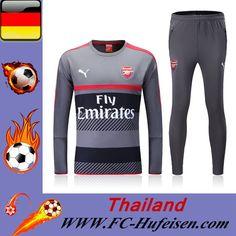 Schönsten Neue Trainingsanzug Set Fussball Arsenal Grau/Schwarz/Rot Saison 16 17 18 Deutschland Sale