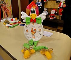 Moldes Para Artesanato em Tecido: Relogio de galinha com molde feltro