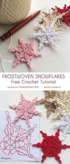 Frostwoven Snowflakes Free Crochet Pattern These beautiful snowflakes are a great way to get into the seasonal spirit. They are not very difficult, can be made in a multitude of Beau Crochet, Crochet Diy, Love Crochet, Beautiful Crochet, Crochet Crafts, Crochet Flowers, Crochet Projects, Knitting Projects, Crochet Ideas