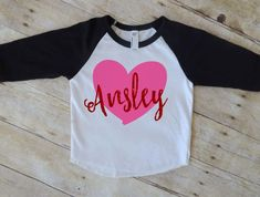 girl valentine, baby girl, vday, raglan, baseball tee, glitter, valentines shirt, first valentines day, heart, outfit, shirt, top, name by Our5loves on Etsy