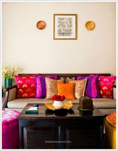 Indian interiors, home decor furniture, diy home decor, indian home Indian Living Rooms, My Living Room, Living Room Decor, Bedroom Decor, Decor Room, Bedroom Ideas, Living Spaces, Wall Decor, Colorful Furniture