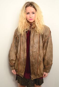 Vintage 80s Pastel Brown Leather Jacket Size S by KALEIDOO on Etsy, $55.00