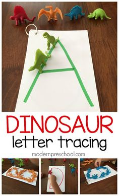 Dinosaur Letter Tracing for Preschoolers Practice letter formation and recognition! Dinosaur letter matching busy bag activity for preschoolers and kindergarteners from Modern Preschool! Dinosaur Theme Preschool, Dinosaur Crafts, Preschool Letters, Preschool At Home, Preschool Themes, Preschool Lessons, Alphabet Activities, Preschool Learning, Toddler Preschool