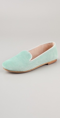 FRENCH SOLE fs/ny Drama Suede Loafers in Seafoam