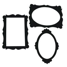 "Black Picture Frame Cutouts - Cardboard. (3 pcs. per set) 16 3/4"" - 24"" x 24"" $8.50"