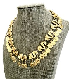 Your place to buy and sell all things handmade Gold Texture, Or Antique, Collar Necklace, Ribbons, Costume Jewelry, Roman, Gifts For Her, Vintage Jewelry, Dangles