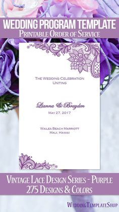 Wedding Program Template Damask Peach  Program Template Wedding