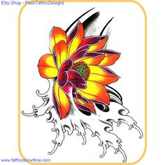 Flower Tattoo Flash Design 1 for you on Etsy. Top quality high resolution color design with tattoo stencil outline. Instant download only $1.95. Get the body art you deserve. Many other designs.