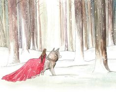 Lady Riding Hood - Fairy Tale Print - Little Red Riding Hood all grown up, chilling with dire wolves, like a boss. --By Georgia Dunn
