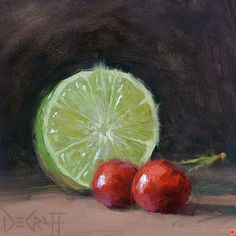 Cherry Limeade by Larry DeGraff, Oil, 5 x 5 Still Life Fruit, Still Life Drawing, Fruit Art, Be Still, Lime, Larry, Drawings, Artist, Cherries