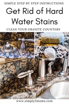Want to remove those stubborn hard water stains from your granite counter tops? Our simple tutorial gets the job done without using any harsh chemicals. #simply2moms #granite #hardwaterstains #cleaningtips #hardwater #mineraldeposits #granite How To Clean Granite, Granite Kitchen Counters, Affordable Storage, Hard Water Stains, Storage Hacks, Tidy Up, Counter Tops, Step By Step Instructions, Cleaning Hacks