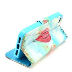 Blue Sky Hot Air Balloon Design Leather Flip Wallet Stand Pouch Skin Bag Cover Case For Apple iPhone 5 5G 5S New