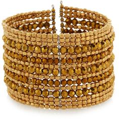 Nakamol Golden Multi-Row Beaded Wire Cuff Bracelet ($21) ❤ liked on Polyvore featuring jewelry, bracelets, gold, wire cuff bracelet, wire bead jewelry, cuff bracelet, bead jewellery and golden bangles