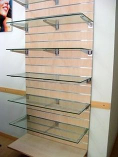 Glass Shelves For Medicine Cabinet Info: 1476384780 Boutique Chic, Small Boutique Ideas, Clothing Store Design, Trophy Design, Pharmacy Design, Showroom Design, Makeup Store, Store Interiors, Slat Wall