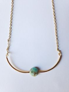 Bohemian gold and turquoise necklace by azadouhijewelry on Etsy, $32.00