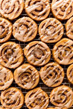 Pumpkin Sugar Cookies, Sugar Cookie Dough, Cinnamon Roll Cookies, Iced Cookies, Cinnamon Rolls, Pumpkin Recipes, Fall Recipes, Holiday Recipes, Pumpkin Foods