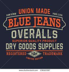 Denim overalls  typography, t-shirt graphics,  vectors