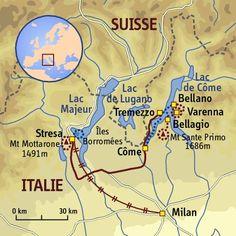 carte Italie - Milan et les lacs Italiens