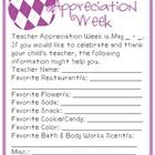 FREE  --  Teacher Appreciation Week Questionnaire