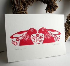 Red Hare Gocco Print by Dee Beale on Flickr