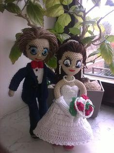Háčkovaná nevěsta a ženich na přání Amigurumi Doll, Teddy Bear, Dolls, Crochet, Animals, Brides, Angels, Baby Dolls, Tricot