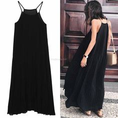 Fashion Women Chiffon Casual Spaghetti Strap Pleated Loose Long Maxi Dress MDWK   eBay