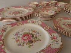 28 Piece Rare Staffordshire Rose Dish Set by by FeistyFarmersWife, $248.00  Rare Antique English China