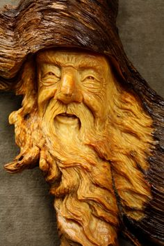 Wood Spirit Wooden Carving Christmas Gift by TreeWizWoodCarvings, $170.00