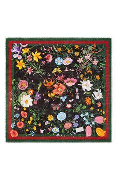 ba16948a89e Gucci Flora Web Print Wool   Silk Scarf