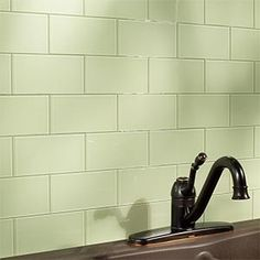 Aspect Peel & Stick 3x6 Glass in Fresh Sage Glam 2.  No grout, no sealer, SUPER sticky.