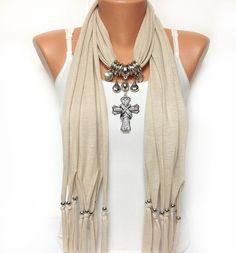 ivory cross jewelry scarf