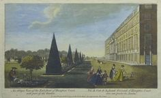 An oblique View of the East front of Hampton Court, with part of the Garden | Sanders of Oxford