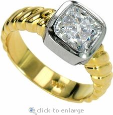 Solta 1.5 Carat Cushion Cut Cubic Zirconia Bezel Set Two Tone Solitaire Engagement Ring in 14k two-tone gold by Ziamond. #ziamond #cubiczirconia #bezel #cushioncut #engagement #ring #solitaire #wedding Diamond Simulant, Lab Created Diamonds, Solitaire Engagement, Cushion Cut, 18k Gold, Jewellery, Jewels, Stone, Wedding