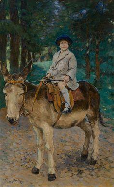 A Girl on a Donkey  - Pyotr Nilus